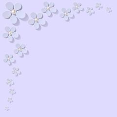 Blumen Ecke Ornament hellblau