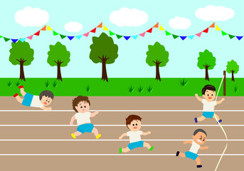 Running competition in sports festival, vector illustration