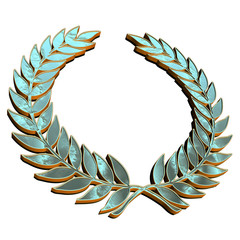 Reflective Laurel Wreath on white