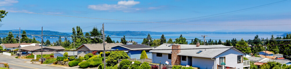 Panoramic view of american houses and bay. Tacoma, Washington st