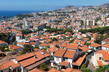 Aerial view of Funchal, capital city of Madeira Island