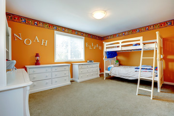 Bright orange kids room with bulk bed