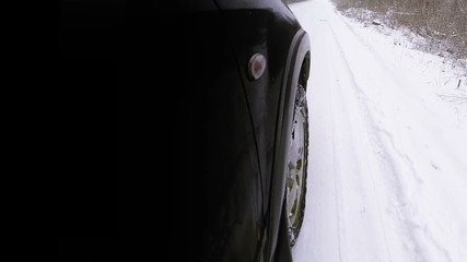 Winter road front car wheel extreme driving video