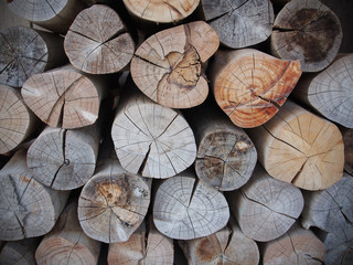 Pile of wood logs, Fire wood stock for background use