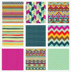Aztec Tribal Seamless Colorful Pattern Set