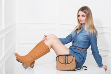 girl in jeans dress