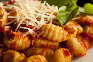 Homemade Italian Gnocchi with Red Sauce