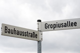 Street signs near Bauhaus building in Dessau, Germany poster