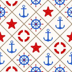 Seamless nautical pattern with sea theme elements on white