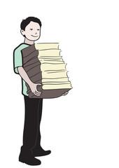 Школьник с книгами