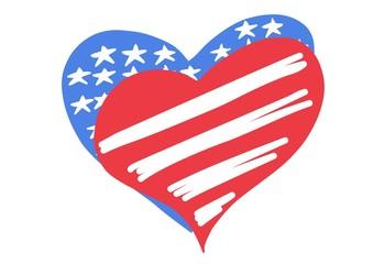 doodle USA heart flag isolated on white background