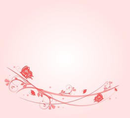 Light pink background with ornaments