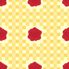Red roses provence style seamless pattern