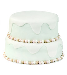 Birthday cake on white background with space for text