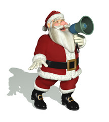 Santa Holding a Megaphone