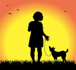 bambina a passeggio col suo cane