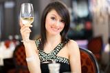 Beautiful woman at the restaurant