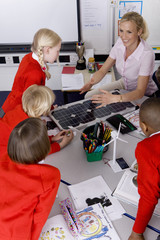 Teacher and school children looking at solar panel and model wind turbines