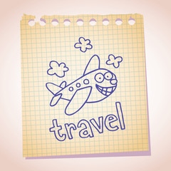 cartoon airplane mascot note paper sketch doodle