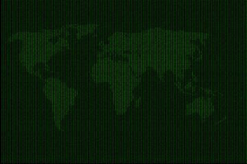 Digital World Map with binary code