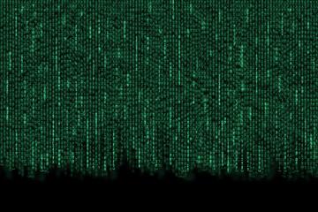Matrix background with the green symbols