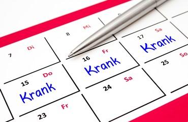 Krankenstand im Kalender