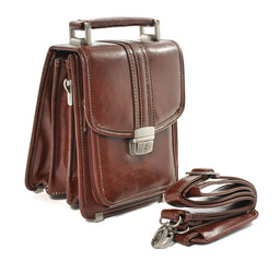 brown leather man's bag on white background