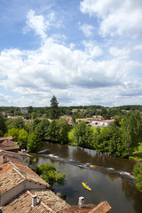 Rooftops and river in idyllic village, Bourdeilles, Dordogne, France