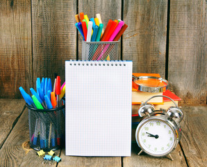 Notebook, books and school tools
