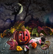 canvas print picture - Halloween Pumpkin scary