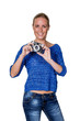 canvas print picture - Junge Frau mit altem Fotoapparat