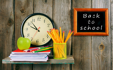 Back to school. Watches and school tools .