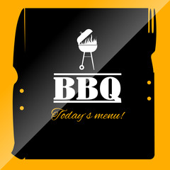 BBQ menu icon template for restaurant or pub.