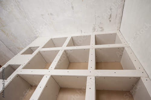 Fotobehang Wand Construction of Drywall-Plasterboar d Interior Room
