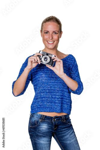 canvas print picture Junge Frau mit altem Fotoapparat