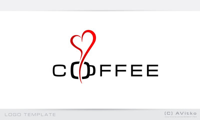 Logo template, coffee, heart, romantic, business