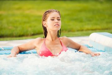 Beauty in hot tub.