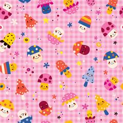 cute mushrooms characters nature pink seamless pattern
