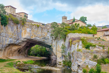 Natural bridge in Puentedey, Burgos, Spain.