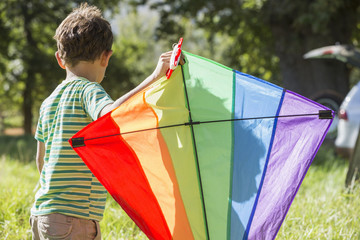 Young Boy Flying Kite On Holiday In Countryside