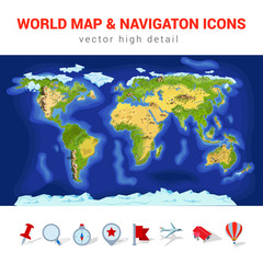 World map high detail vector navigation icon set gps continents