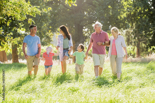 Multi-Generation Family Enjoying Walk In Beautiful Countryside