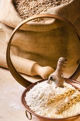 farina,cereali e spighe di grano