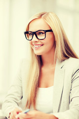 businesswoman with glasses