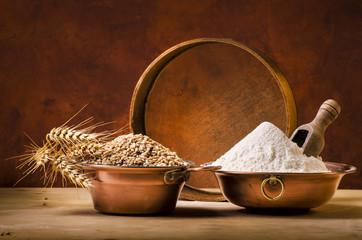 cereali,farina e spighe di grano