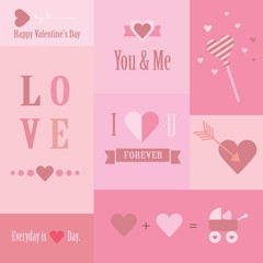 Valentine's day and wedding set of mini cards