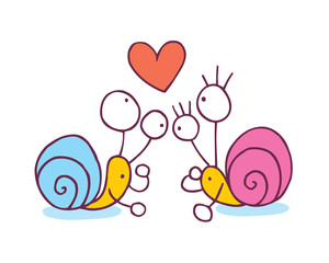 Snails In Love cartoon illustration
