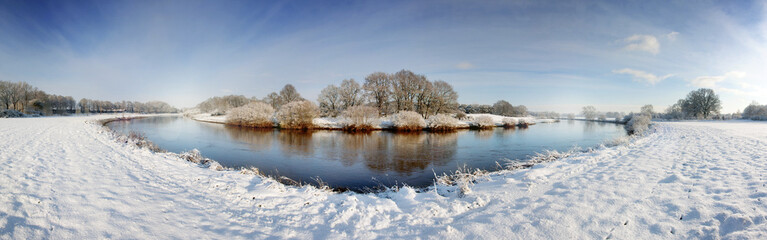 Fluss, Ems, Lingen, Winter, Pano_01