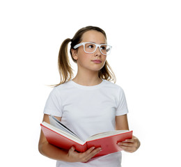 Young girl in trendy glasses standing thinking