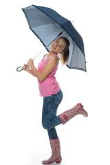 Young girl having fun in the rain